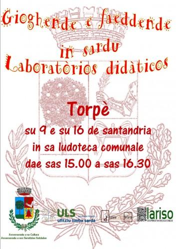 comune di torpè,laboratori didattici,lingua sarda,ufìtziu limba sarda,assessorato cultura,assessorato servizi sociali